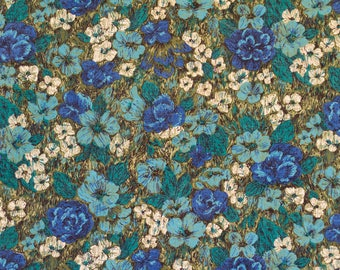 """Sale Vintage Bark Cloth Blue and green Floral Gorgeous! 2 Yard + 28"""""""
