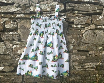 Handmade toddler dress, Very Hungry Caterpillar butterfly print,