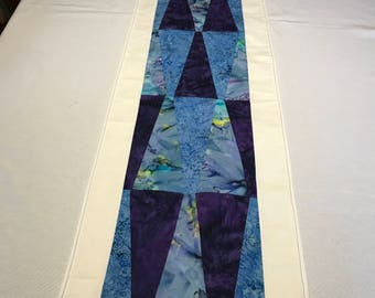 Lavender Table Runner, Batik Fabric, Dining Table Runner, Pieced Table Runner, Linen Table Runner, Table Topper, Colorful Table Runner