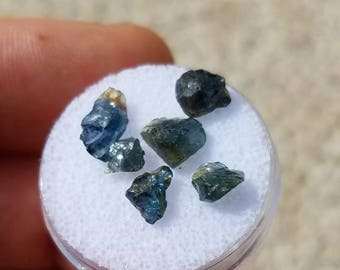 Blue-green Sapphire crystals from Ethiopia, small pieces, perfect for accents in wirewraps, 5 carats