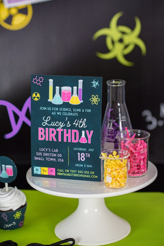 Science Party Invitation in Pink - Printable Science Birthday Party ...