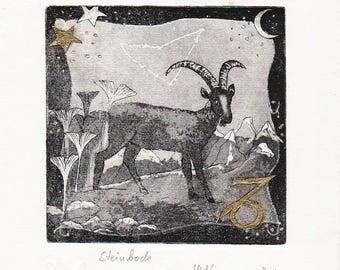 Capricorn-Zodiac Sign-horoscope-Astrology-21.01.-19.02. Original etching-print graphics-etching Limited: 50-Fine Art print