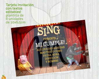 SING. Printable and editable texts card! INSTANT DOWNLOAD!