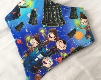 Doctor Who 9, 10, 11, and 12 Doctors, Tardis, and Daleks Baby Bandana Bib