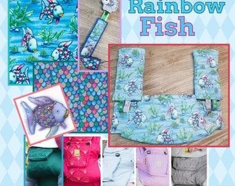 Ergo360 or Lillebaby 3-PC set.  Headrest Bib/Straight Pads.  Curved Pads upgrade and personalization available. RAINBOW FISH