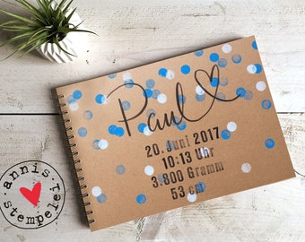 Photo album, scrapbook A4, handlettering with compose, baby boy