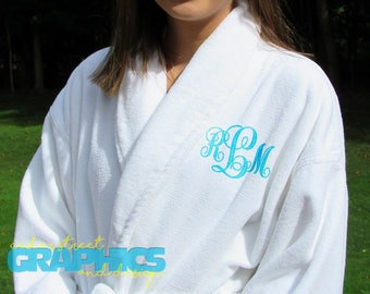 Personalized Luxury Bath Robe - Custom Embroidered terry robe - Heavyweight robe with shawl collar -  Monogrammed robe - Mr and Mrs gifts