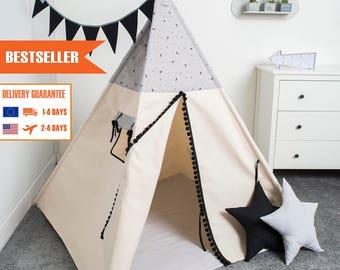 children teepee tent, kids play tent, tipi, teepee tent, set 6 elements indian wigwam MOON