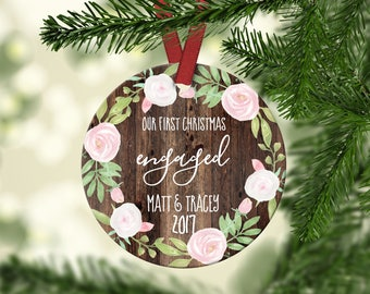 First Christmas Engaged.Engagement Christmas Ornament.Engagement gift.Christmas Gift.Gift idea.Custom Christmas ornament.ornament
