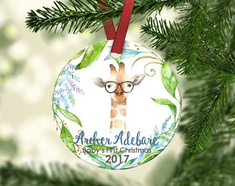 Baby's first Christmas ornament.Boy Ornament.Baby Giraffe.Christmas ornament.Personalized christmas ornament.Baby's first Christmas.