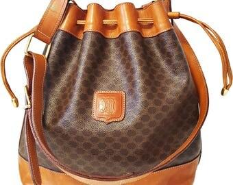 Authentic Celine Macadam Pattern Drawstring Shoulder Bag PVC Leather Brown Handbag