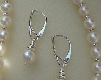 Beaded pearl earrings, 925 silver earrings