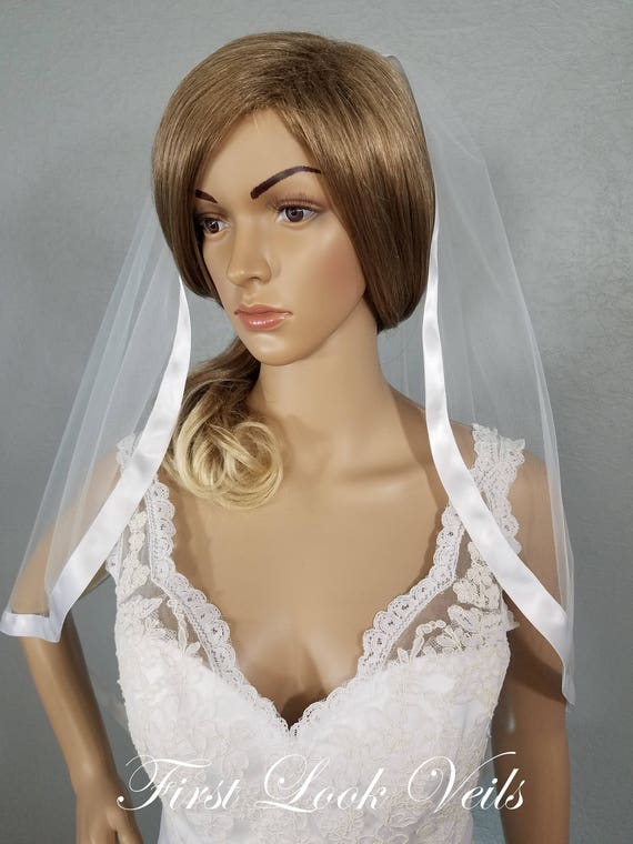 White Wedding Veil, Bridal Hip Veil, One Layer Ribbon Edged Wedding Vail, Bridal Attire, Bridal Accessory, Bridal Accessories, Plain Veil