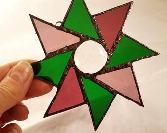 Stained Glass STAR Suncatcher - Unique Deco Soldering- Beautiful Window Bling, Patio and Garden Decor