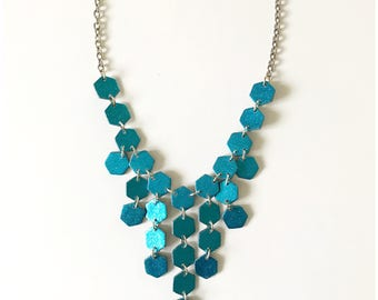 """Super sparkle - teal glitter cocktail necklace - handmade with polymer clay and glitter on 18"""" chain"""