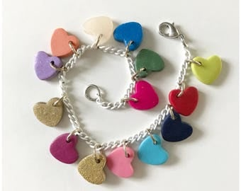 Multicolor heart charm bracelet - handmade with polymer clay, hung on white enamel Monet chain