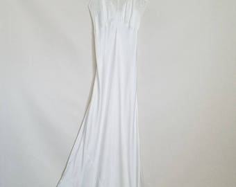 Vintage White Satin Nightgown w Tied Shoulder - 1930/40's Bias Cut Maxi Nightie w Bow - Art Deco Full Length Gown - Vintage Bridal -Size XXS