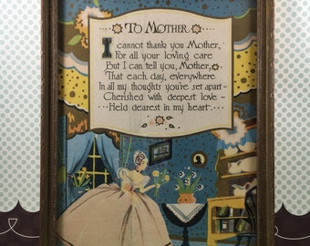 "Vintage ""To Mother"" Printed Poem, Framed, Thank You for Mom, Wall Art, Cottage Chic Decor, 1930s"