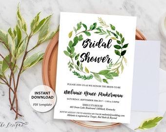 Editable Bridal Shower Invitation, Printable Template, Instant Download, Editable Text, Greenery, Garden Foliage Wreath Invite (Melanie)