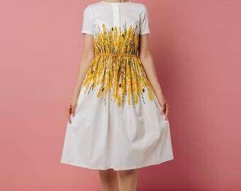 Cotton dress Aurelia, golden print, floral print, summer dress