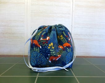 Into the Woods in Nite - Jumbo Drawstring, Divided Knitting Project Bag, Crochet Bag, Sweater Project Bag, Knitting Organizer, Fox