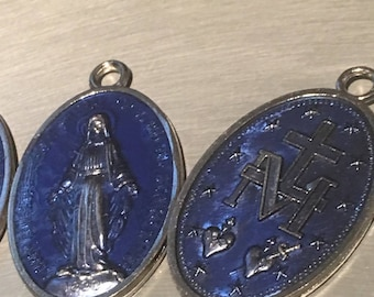 "Our Lady of the Miraculous Medals 2 Large Virgin Mary Medal Double Sided 1 3/4"" tall Catholic"