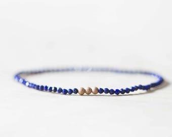 Lapis Stretch Bracelet, Delicate Beaded Lapis Lazuli Jewelry, Blue Gemstone Elastic Stacking Bracelet, Sterling Silver Rose Gold Filled