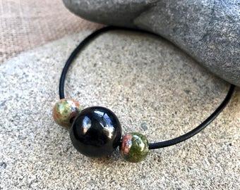 Large Shungite Bead Bracelet w/Unakite