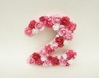 Birthday party decor - Second birthday party - Flower letter 2 - Pink floral letter 2 - Nursery letter - Wedding table letter 2- home decor