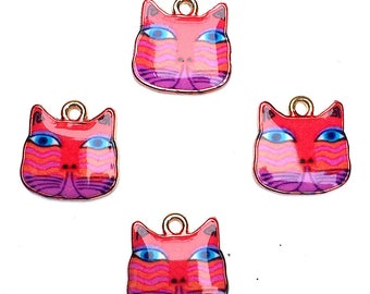 Vivid Red Cat Charms, Enamel Cat Charms, Kawaii Cat Charms, Enamel Cat Pendant, Artsy Cat Charm