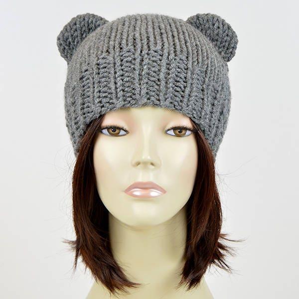 0b27d5844eb Bear Beanie Bear Ear Beanie Womens Bear Hat Mickey Mouse Knitted Bear Hat  Bear Ears Hat