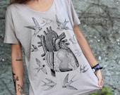 anatomical heart shirt, bird tshirt, women's shirt, heart print, heart t-shirt for woman, steampunk shirt, swallow t-shirt, girlfriend gift