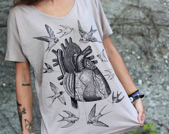 anatomical heart shirt, bird tshirt, women's shirt, heart print, heart t-shirt for woman, steampunk shirt, swallow t-shirt, girlfriend gift
