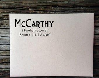 Personalized Address, Custom Address, Return Address Label, McCarthy Return Address Labels,  Wedding Invitation Labels, Custom Address Label