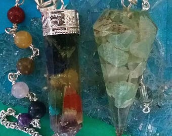 2 Large ORGONE Dowsing Pendulums, GREEN AVENTURINE Crystal and a Chakra Crystal with Chakra Chain, With 2 Pouches, Divination