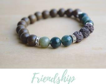 Moss Agate Yoga Bracelet / bff bracelet gift, jewelry gift bff, cheer up gift, yoga agate bracelet, new beginning, bestfriend gift idea