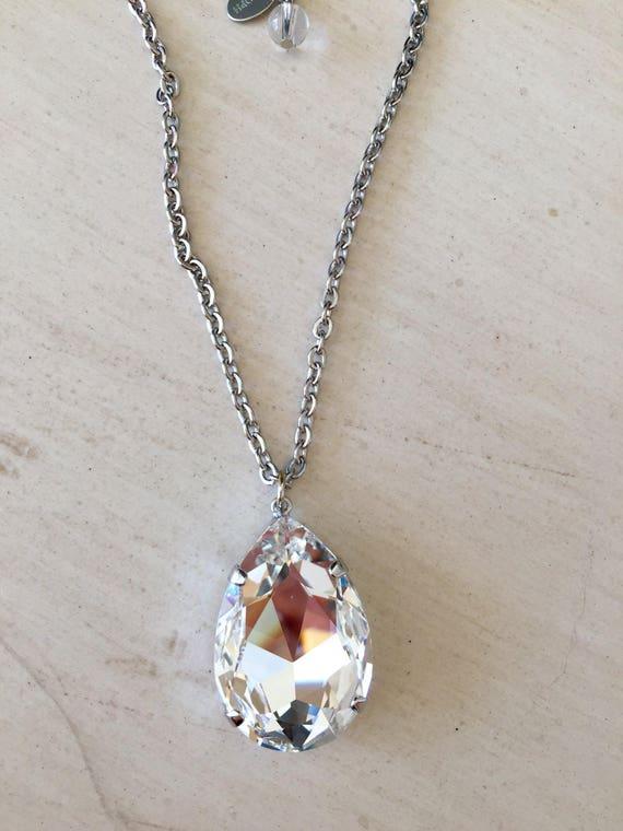 Clear Swarovski Pear Crystal Necklace, Silver