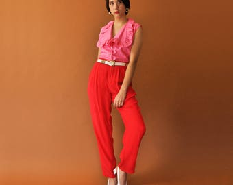 Red Silk Trousers, Vintage Silk Pants, 90s Minimal Pants, Tapered Trousers, Loose Fit Pants, High Waist Pants, Minimal Trousers Size 2