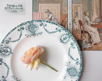 French Ironstone Plate White Antique Vintage Ribbon Bows Wreaths Stamped