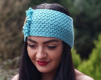 Headband, Women, Hand knit, Ear Warmer, Turquoise,  Hand Knitted, Heart Button, Merinos, So Soft,  Accessories, Warmer, Perfect gift,