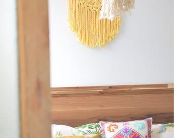 Macrame wall hanging, large headboard macrame, macrame weaving, bohemian decor, macrame wall hanging, driftwood, surf decor, soft yellow