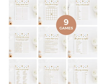 Pink Blue and Gold Baby Shower Games Package, Baby Shower Activity, Baby Shower Bingo, Price is Right, 9 Printable Games, Instant Download