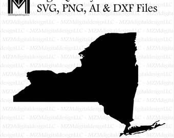 New York svg, png, ai and dxf Files -For Commercial & Personal Use- SVG for Cricut Silhouette and Cameo - Vinyl file - NY NYC Home State
