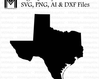 Texas svg, png, ai and dxf Files -For Commercial & Personal Use- SVG for Cricut Silhouette and Cameo - Vinyl file - Texas Houston Home State
