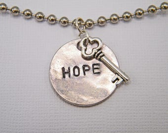 Hope is Key engraved medallion necklace with key charm - survivor - caregiver - gift
