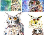 5 OWL POSTCARDS, 5 different Unique postcards from wonderful watercolour illustrations, OWL, wall decoration, kids, living room decor