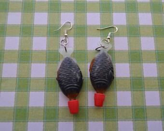 Resin soy sauce fish shaped sushi earrings