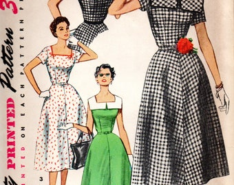 1950s Simplicity Sewing Pattern 4650 Square Neckline V-Back Gored Dress Size 16
