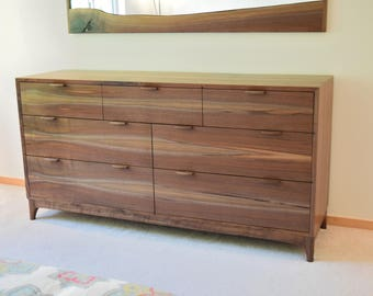 Black Walnut Dresser -- Mid Century Modern -- Chest of Drawers -- Custom Sizes