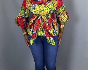 African print top,African print fabric,blouses,women's clothing,dashiki tops,robe wax